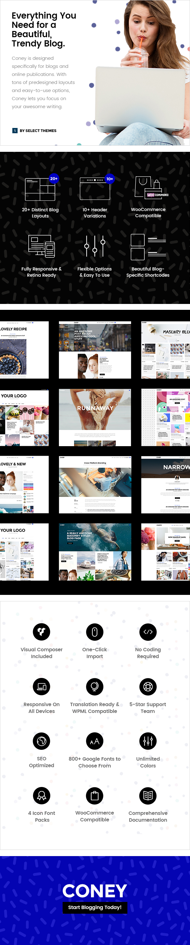 WordPress theme Coney - A Trendy Theme for Blogs and Magazines (Blog / Magazine)